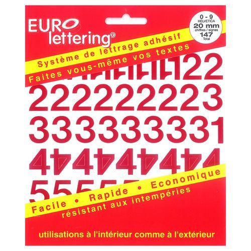 Pickup boekje zelfklevende cijfers Eurol 20mm rood