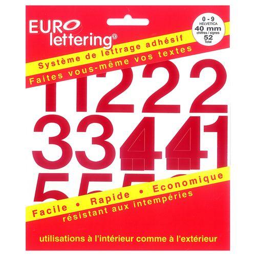 Pickup boekje zelfklevende cijfers Eurol 40mm rood