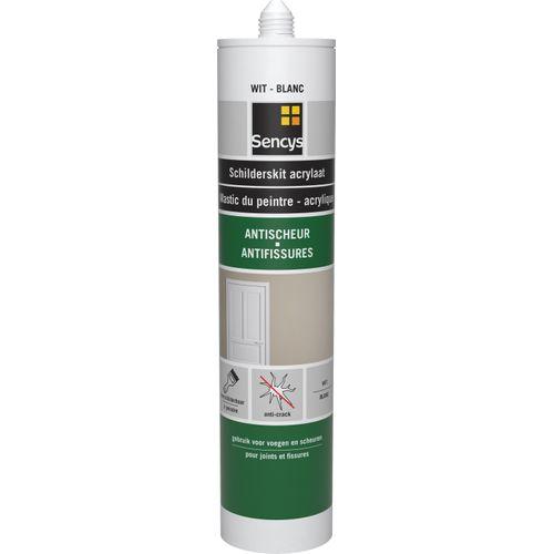 Sencys acrylaatmastiek schilderskit anti-scheur wit 310 ml