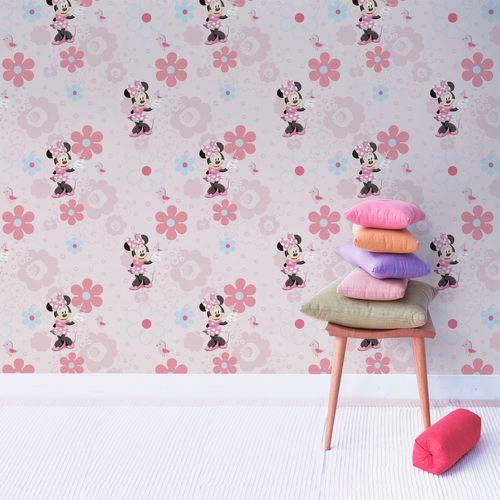Papier peint Disney Minnie rose