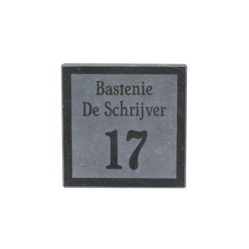 Gravure VASP 'Stone black' numéro et nom pierre bleue belge