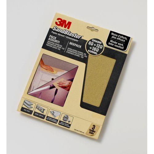 3M schuurpapier Sandblaster vellen gemixt P80/P120/P180 3 stuks
