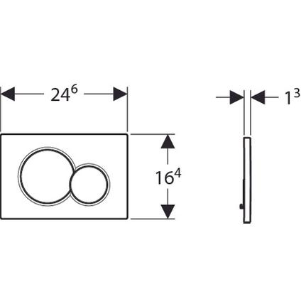 Geberit bedieningspaneel Sigma01 tweeknops frontbediening UP320 wit 16,4x24,6cm