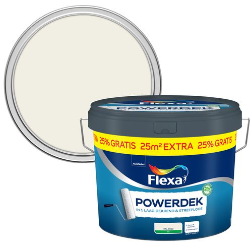 Flexa Powerdek Muren & Plafonds RAL 9010 zuiver wit 10L plus 2,5L
