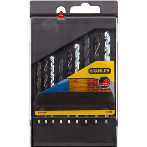 Stanley boorcassette 9-delig met/st/hout