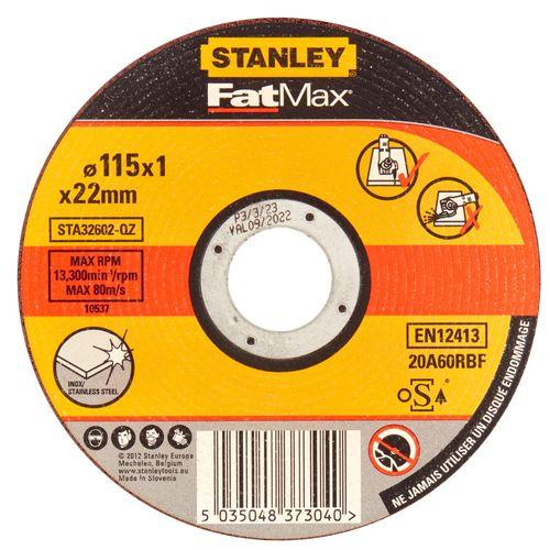 Disque à tronçonner Stanley inox 115 mm
