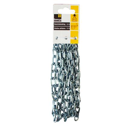 Sencys gewichtsketting staal zilver 4 mm x 2,5 m