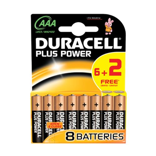 Pile alcaline Duracell Plus Power 'AAA - LR03' 1,5 V - 8 pcs