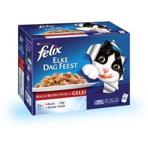 Felix pouch 12-pack elke dag feest vlees 100 gram