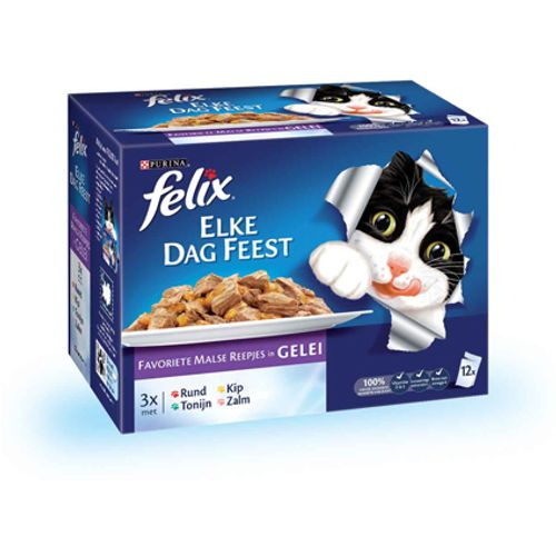 Felix pouch 12-pack elke dag feest mix 100 gram