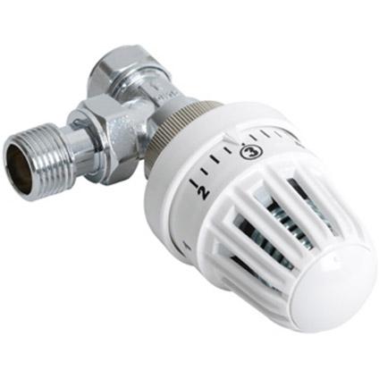 Plieger thermostatische radiatorkraan haaks 15mm klemx1/2bu wit