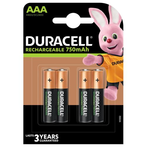 Pile rechargeable Duracell 'Recharge Plus' AAA 750mAh - 4 pcs