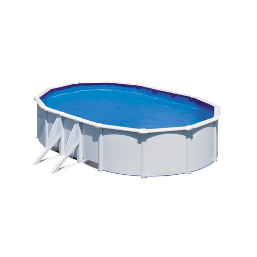 Gre opzetzwembad Fidji ovaal staal wit 634x399x122cm