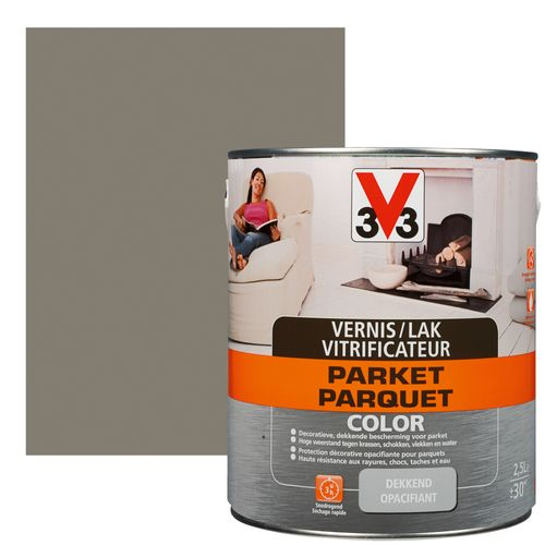 Vitrificateur V33 'Parquet Color' poivre satin 2,5L