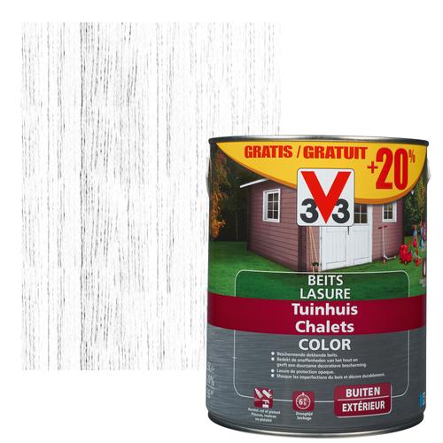 Lasure V33 Color chalets ice white satiné 2,5L + 500ml gratuits