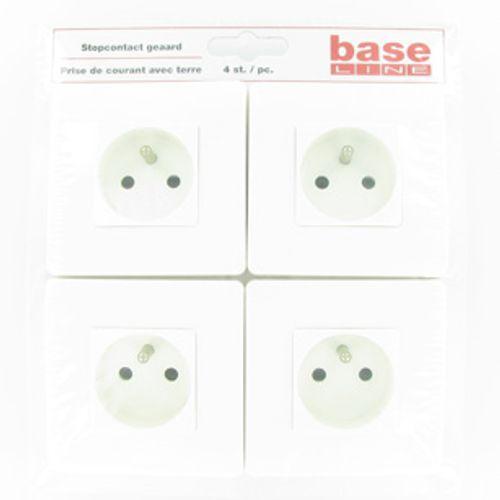 Baseline wandcontactdoos met aarde wit - 4 stuks