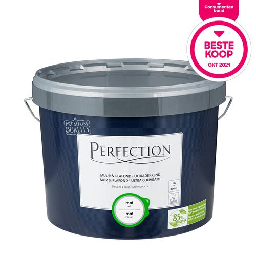Perfection verf Muur & Plafond Ultradekkend mat wit 10L