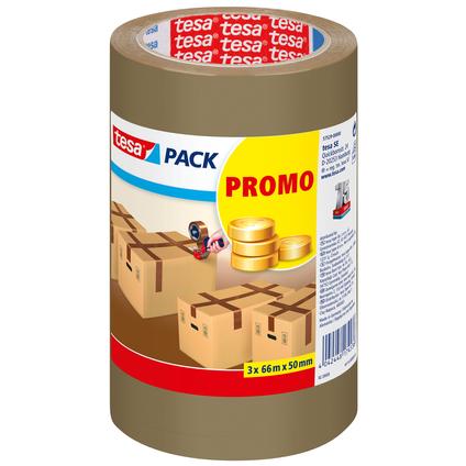 Ruban adhésif Tesa 'Promo Pack' brun 66 m x 50 mm - 3 pcs