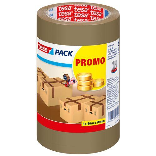 Tesa tape 'Promo Pack' bruin 66 m x 50 mm - 3 stuks