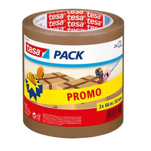 Ruban Adhésif Tesa-pack tape d'emballage 50mmx66m brun 2-pack