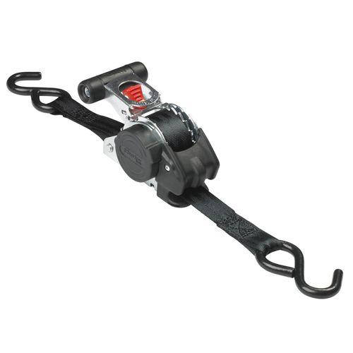 Master Lock intrekbare spanbanden + ratel en S-haken 3mx25mm zwart
