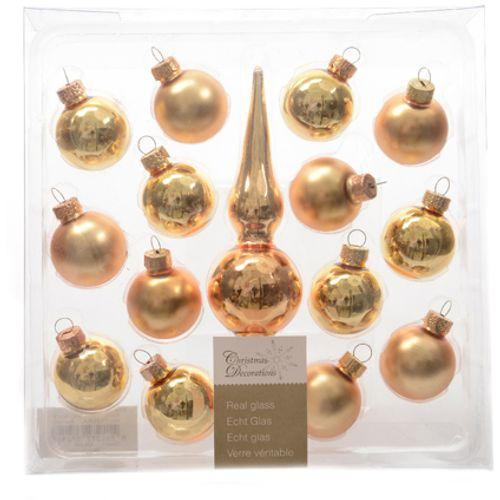 Set boules de Noël avec pointe de sapin Decoris 'Christmas Decoration' verre or 30 mm - 14 pcs