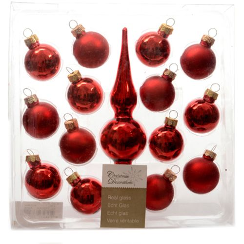 Decoris set kerstballen 'Christmas Decoration' met piek glas rood 30 mm - 14 stuks