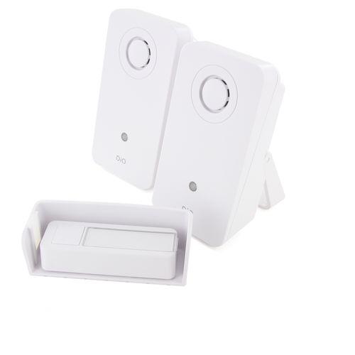 DiO Design draadloze deurbel kit + 2 ontvangers 200m wit