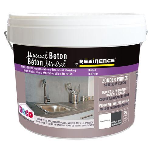Enduit de décoration murs Résinence 'Béton minéral' gris ardoise 6kg