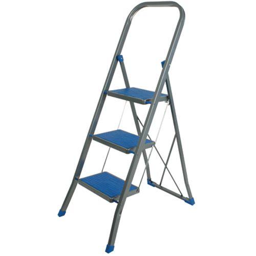 Escalo huishoudladder 'Blauw' gelakt staal 3 treden