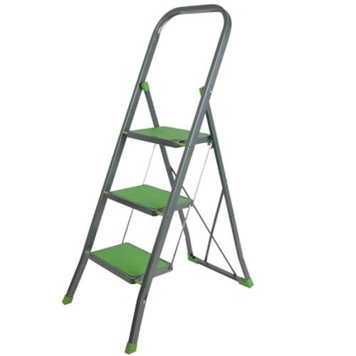 Escalo huishoudladder 'Groen' gelakt staal 3 treden