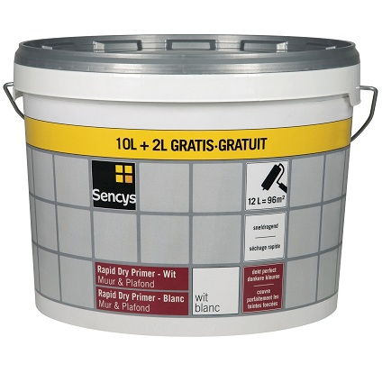 Sencys primer muur en plafond 'Rapid Dry' wit 12 L