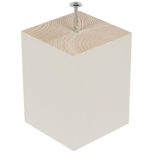 Pied de meuble Duraline 'Lieke' bois carré blanc satiné 15,5 cm