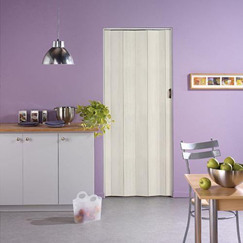 Porte accordéon Grosfillex 'Una' PVC bois blanchi 205x84cm