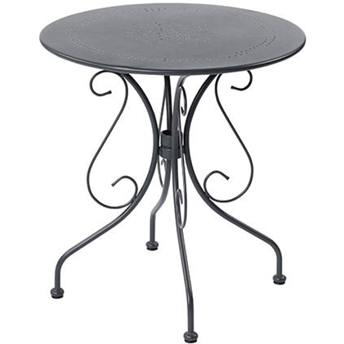 Table de bistrot Central Park Lucille anthracite acier Ø70cm