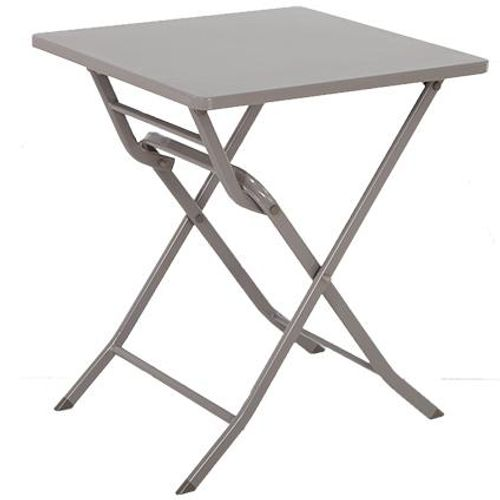 Table de bistrot Central Park Stacy taupe acier 60x60cm