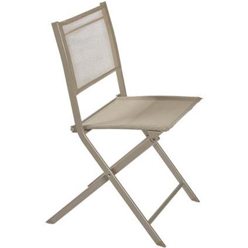 Chaise bistro Central Park 'Stacy' textilène / acier taupe  46 x 89,5 cm