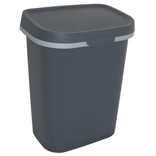 Poubelle Curver Mistral Flat 10L PVC recyclé anthracite