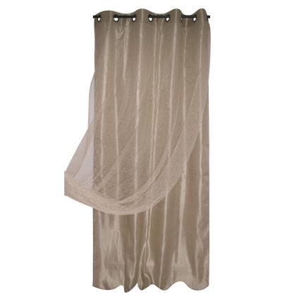 Gordijn voile dubbel Spider polyester beige 140 cm x 260 cm