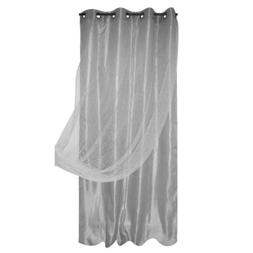 Gordijn voile dubbel Spider polyester grijs 140 cm x 260 cm