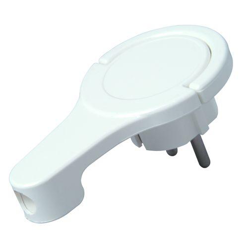 Kopp platte stekker RA + zij-invoer 8 mm wit