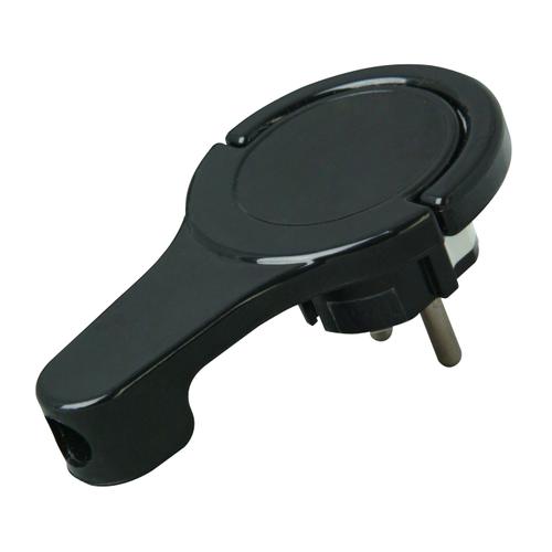 Kopp platte stekker RA + zij-invoer 8 mm zwart