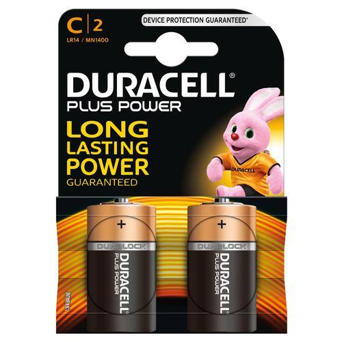 Pile alcaline plus power Duracell 'C' 1,5 V - 2 pcs
