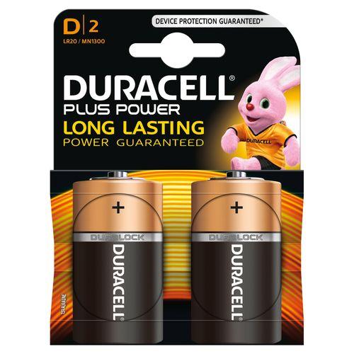 Pile alcaline plus power Duracell 'D' 1,5 V - 2 pcs