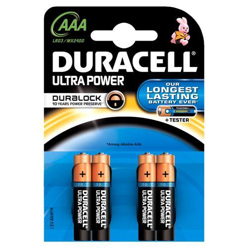 Duracell Batterijen Ultra Power, Alkaline, 4 x AAA