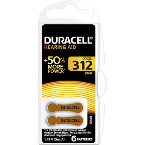 Pile auditive bouton Duracell '312' 1,45 V - 6 pcs