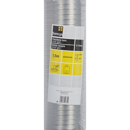 Sencys flexbuis aluminium voor geiser en VMC Ø118-125mm 150cm