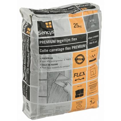 Sencys premium tegellijm flex grijs 25kg