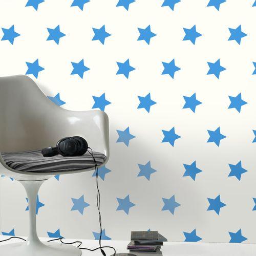Be You papierbehang Sterren blauw/wit