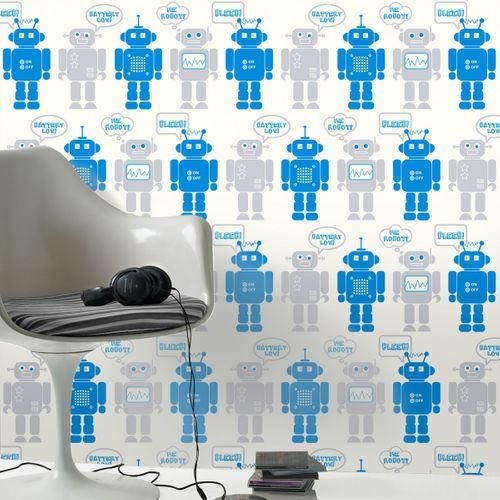 Be You papierbehang Robots blauw/grijs